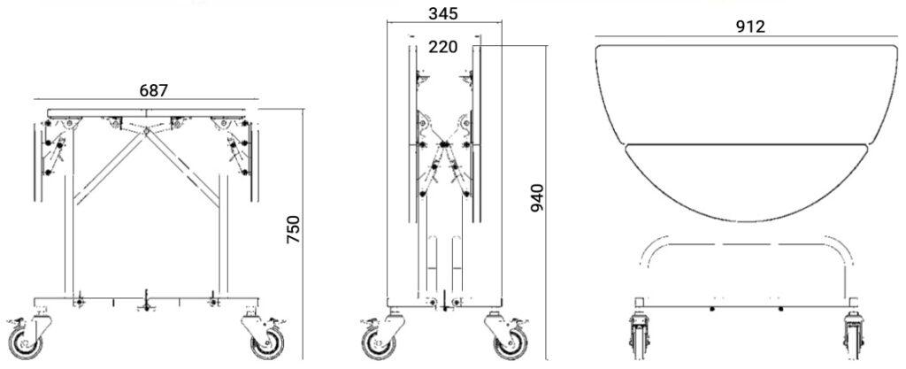 misure carrello per il servizio in camera